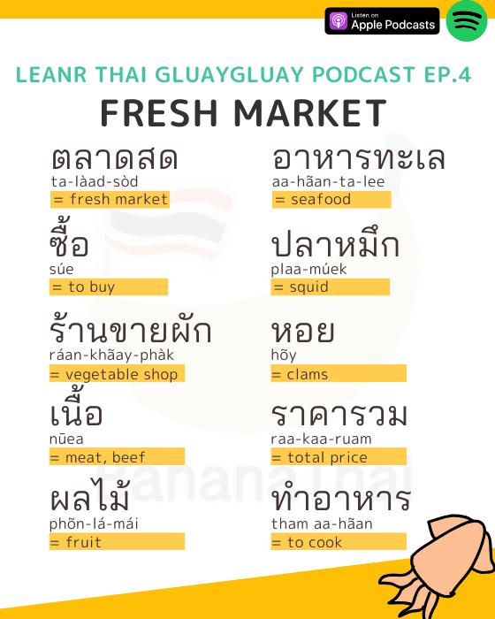 market Thai vocabulary
