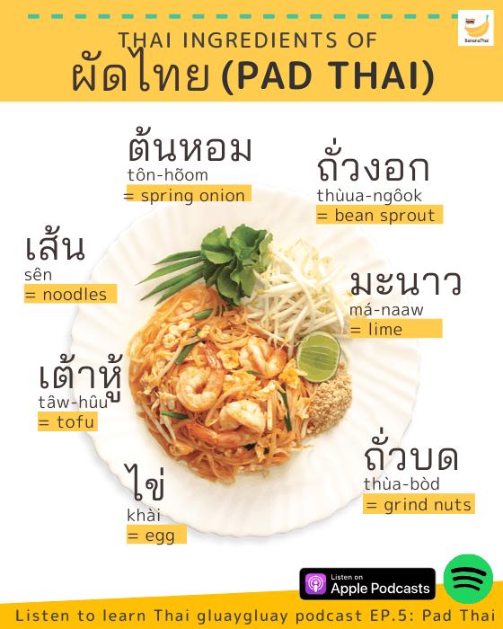 learn Thai words - pad thai ingredients